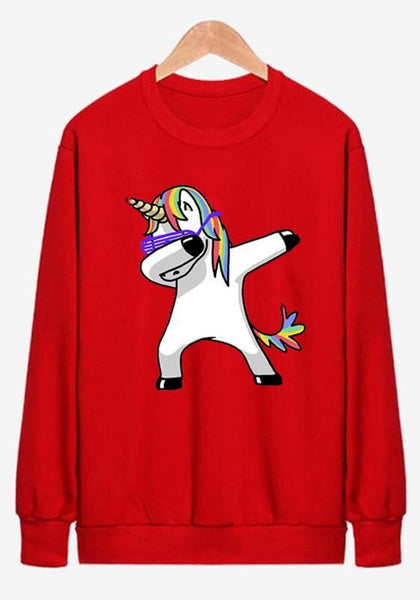 Red Unicorn Print Round Neck Long Sleeve Fashion Pullover Sweatshirt