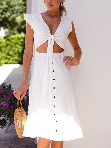 White V-neck Button Placket Front Ruffle Trim Chic Women Midi Dress