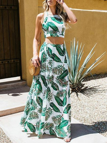 Green Leaf Print Chic Women Crop Cami Top And High Waist Maxi Skirt