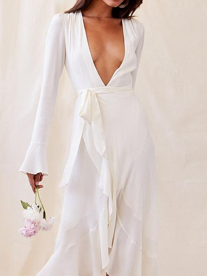 White Chiffon Plunge Flare Sleeve Chic Women Hi-Lo Maxi Dress