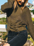 Army Green Eyelet Lace Up Front Long Sleeve Chic Women Sweater