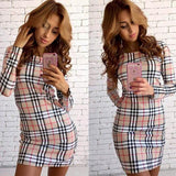 Apricot Plaid Print Round Neck Long Sleeve Mini Dress