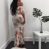 White Floral Bandeau Off Shoulder Ruffle Side Slit Backless Maxi Dress