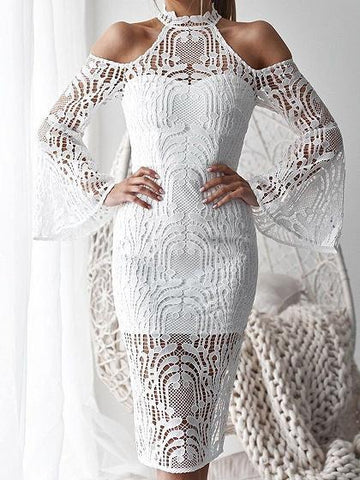 White Cold Shoulder Flare Sleeve Chic Women Lace Bodycon Midi Dress