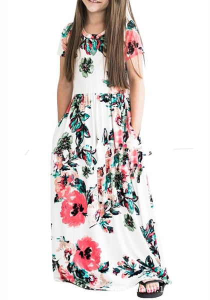 White Flowers Pockets Draped Round Neck Children Bohemian Sweet Maxi Dress
