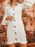White Button Placket Front Puff Sleeve Chic Women Bodycon Mini Dress