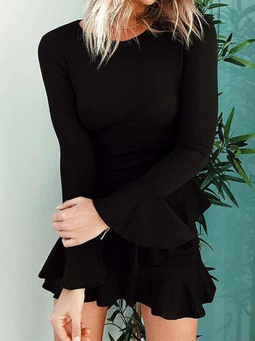 Black Crew Neck Ruffle Trim Flare Sleeve Chic Women Mini Dress
