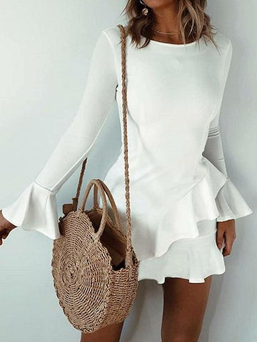 White Crew Neck Ruffle Trim Flare Sleeve Chic Women Mini Dress