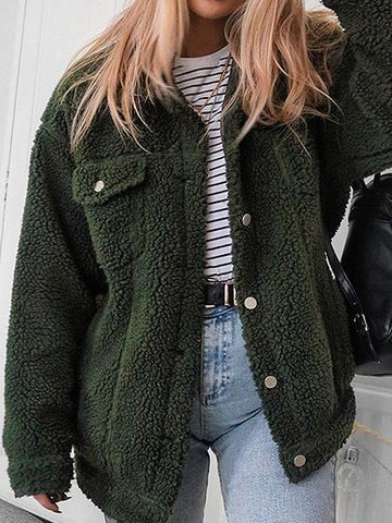 Army Green Lapel Long Sleeve Chic Women Faux Shearling Coat