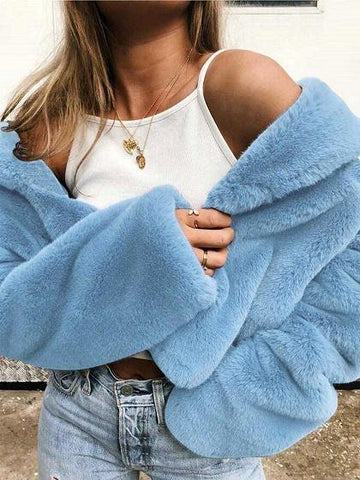Light Blue Lapel Long Sleeve Chic Women Fluffy Coat