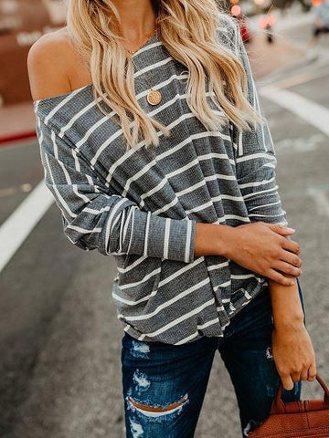 Gray Stripe Ribbed Knot Front Long Sleeve T-shirt