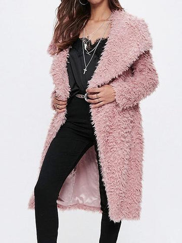 Pink Lapel Long Sleeve Faux Fur Fluffy Coat