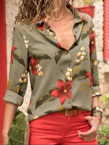 Army Green Chiffon Floral Print Long Sleeve Chic Women Shirt