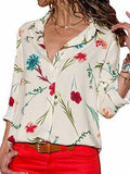 Beige Chiffon Floral Print Long Sleeve Chic Women Shirt