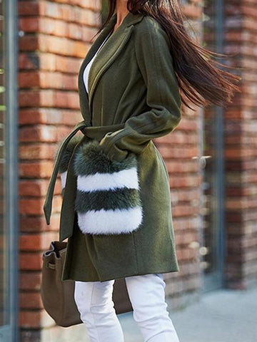 Army Green Lapel Fluffy Pocket Detail Long Sleeve Wool Blend Coat