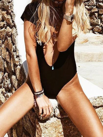 Black Plunge Open Back One-piece Swimsuit