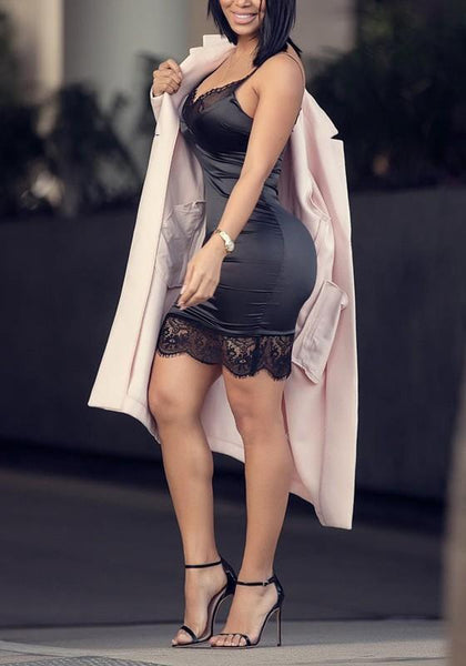 Black Patchwork Lace Backless Spaghetti Strap A Little Black Bodycon Clubwear Mini Dress