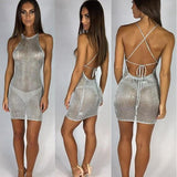 Grey Plain Tie Back Round Neck Cotton Mini Dress