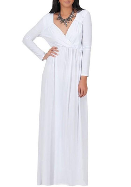 White Draped V-neck Long Sleeve Plus Size Casual Maxi Dress
