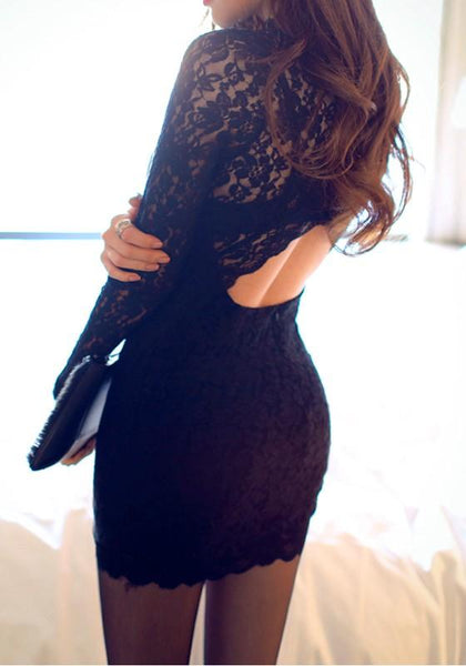 Black Patchwork Lace Round Neck Polyester Mini Dress