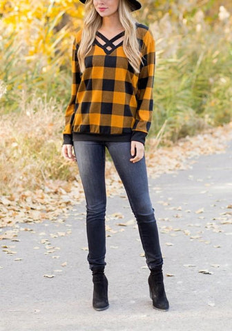 Yellow-Black Plaid Print Cut Out V-neck Casual T-Shirt