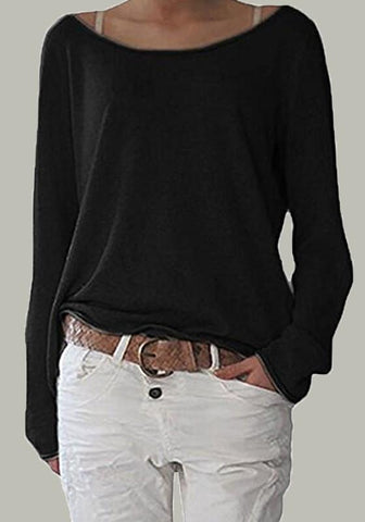 New Black Asymmetric Shoulder Round Neck Long Sleeve Fashion T-Shirt