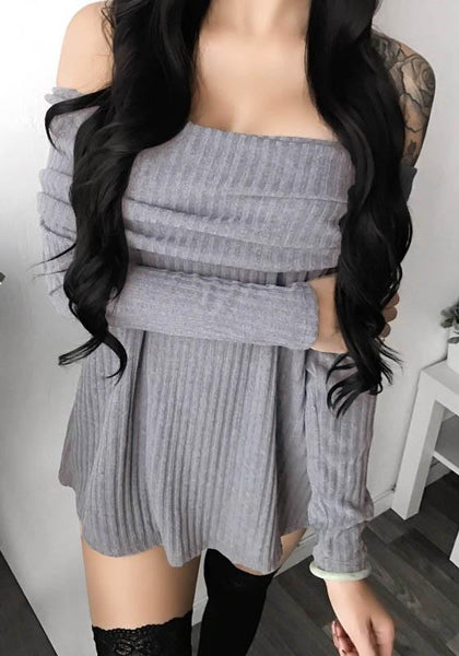 Grey Bandeau Double-deck Boat Neck Mini Dress