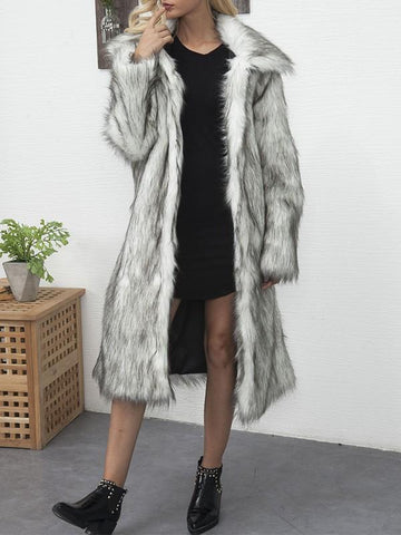 New White Black Faux Fur Pockets Turndown Collar Fashion Outerwear