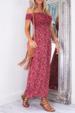 Floral Draped Irregular Boat Neck Maxi Dress