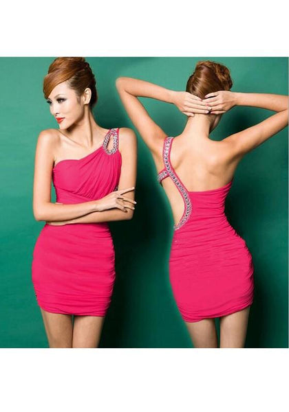 Rose Carmine Asymmetric Shoulder Cut Out Rhinestone Mini Dress