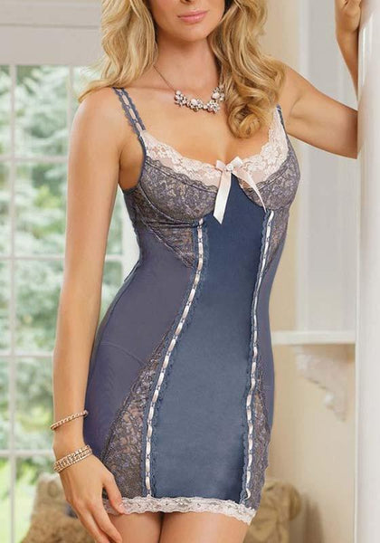Grey Patchwork Lace Bow Cut Out Round Neck Mini Dress
