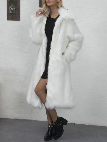 New White Faux Fur Pockets Turndown Collar Fashion Outerwear