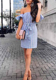 Light Blue Striped Bandeau Boat Neck Short Sleeve Mini Dress