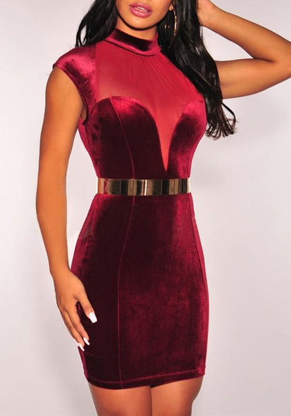 Burgundy Patchwork Grenadine Cut Out Backless Bodycon Clubwear Cocktail Party Mini Dress