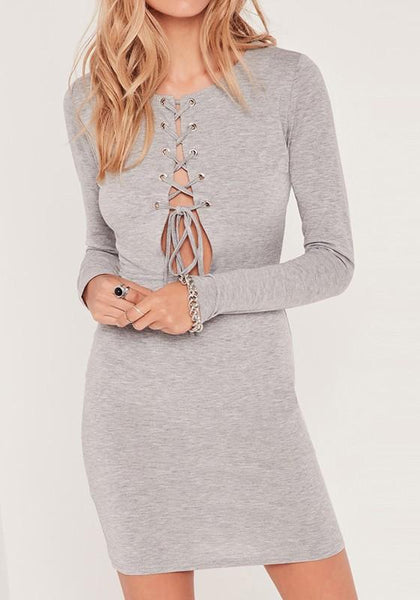 Grey Plain Hollow-out Lace-up V-neck Slim Bodycon Club Mini Dress
