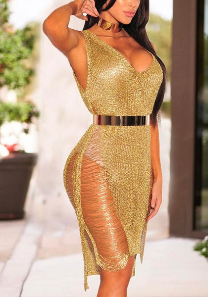 Golden Bright Wire Irregular Cut Out Destroyed Deep V-neck Clubwear Party Midi Dress