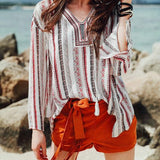 White Striped Belt Print Bohemian Lace-Up Side Slit Fashion T-Shirt