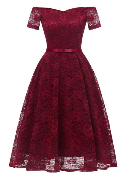 Burgundy Lace Bow Pleated Off Shoulder Backless Tutu Banquet Elegant Party Midi Dress