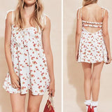 White Cherry Floral Drawstring Cut Out Semicircular Mini Dress