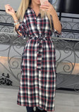 Red Plaid Print Sashes Buttons Long Sleeve Turndown Collar Casual Midi Dress