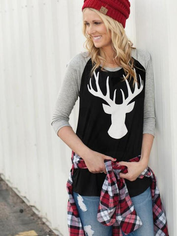 New Grey-Black Patchwork Elk Pattern Long Sleeve Christmas Casual T-Shirt