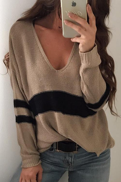 Three Line Patchwork Sweater Shirt