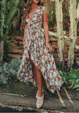 Blue Floral Sashes Slit Flowy Deep V-neck Bohemian Party Maxi Dress