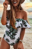 Leaf Print One-Piece Swimsuit