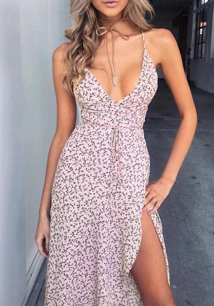 Pink Floral Irregular Backless Lace Up Thigh High Side Slits Flowy Maxi Dress