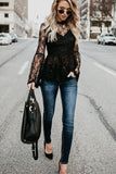 Black Patchwork Lace Shirts