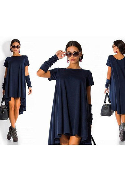 Navy Blue Plain Peplum Semicircular Fashion Cotton Midi Dress