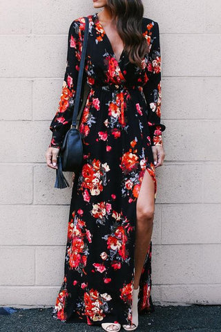 Flower Print Tie Maxi Dress