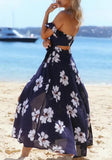 Navy Blue-White Flowers Cut Out Zipper Belt Open Back Slit Maxi Dress