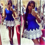 Blue Patchwork Lace Round Neck Mini Dress